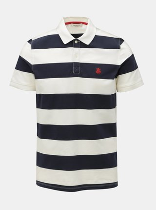 Tricou polo alb-albastru in dungi Selected Homme Haro