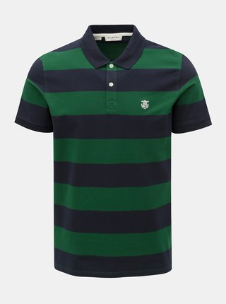 Tricou polo verde-albastru in dungi Selected Homme Haro