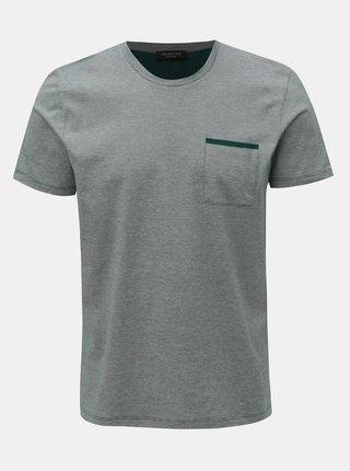 Zelené žíhané tričko s náprsní kapsou Selected Homme Poe