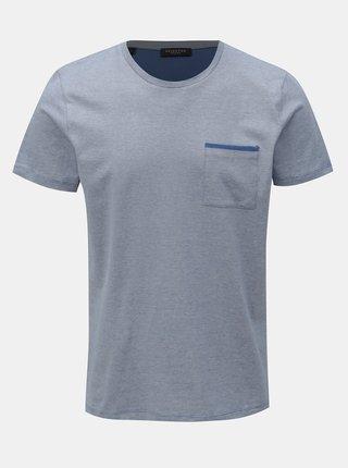 Modré žíhané tričko s náprsní kapsou Selected Homme Poe