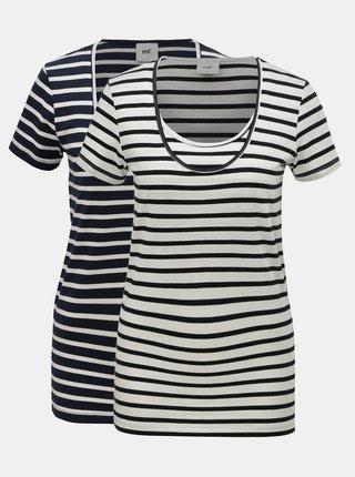 Balenie dvoch tričiek v bielej a modrej farbe na dojčenie Mama.licious Lea