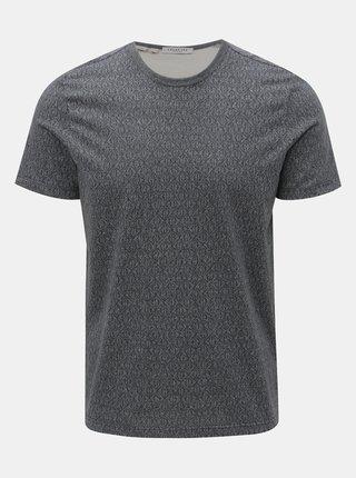Tricou gri cu model Selected Homme Sander