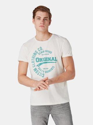 Tricou barbartesc crem cu imprimeu Tom Tailor Denim
