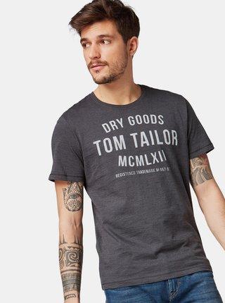 Tricou barbatesc gri inchis cu imprimeu Tom Tailor