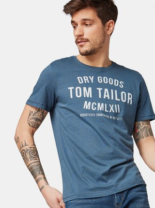 Tricou barbatesc albastru cu imprimeu Tom Tailor