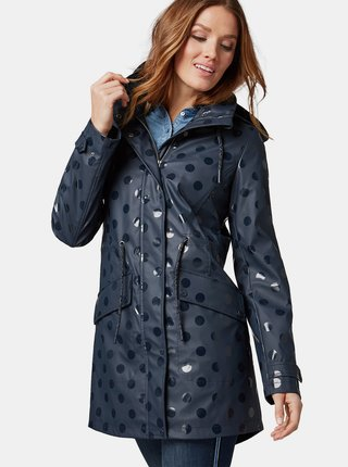 Jacheta parka albastru inchis cu buline impermeabila de dama Tom Tailor