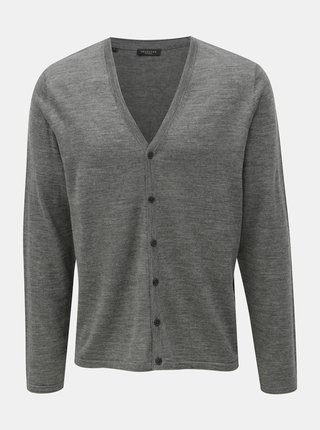 Cardigan gri din lana merino Selected Homme Thom