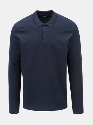 Tricou polo albastru inchis Selected Homme Wave