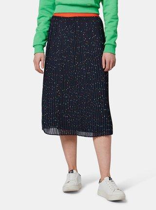 Tmavě modrá vzorovaná plisovaná sukně Tom Tailor Denim