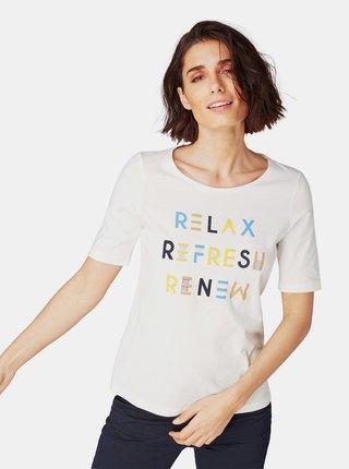 Krémové dámské tričko s potiskem Tom Tailor