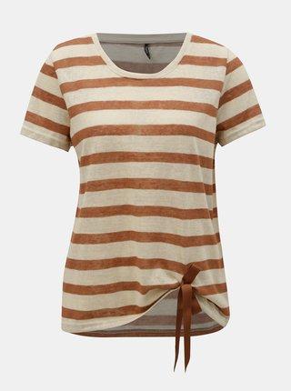 Tricou maro-bej in dungi cu funda ONLY Rill