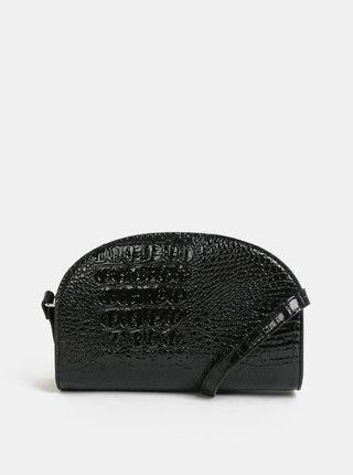 Čierna crossbody kabelka s hadím vzorom Pieces Fanny