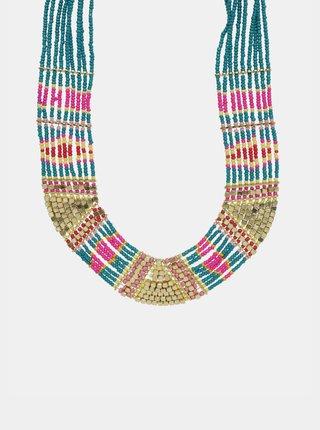 Náhrdelník ve zlaté a tyrkysové barvě Pieces Bibbi