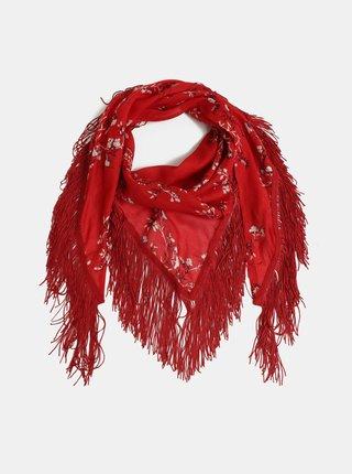 Červený květovaný šátek Pieces Bully