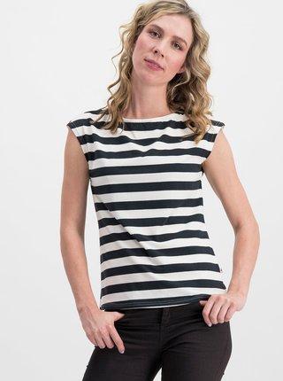Tricou alb-negru in dungi Blutsgeschwister Logo Stripe