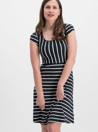 Rochie neagra in dungi Blutsgeschwister Logo Stripe