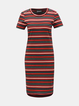 Červené pruhované basic šaty Noisy May Summer