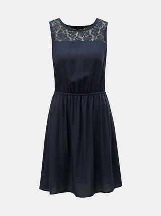 Tmavě modré šaty s krajkou VERO MODA Boca