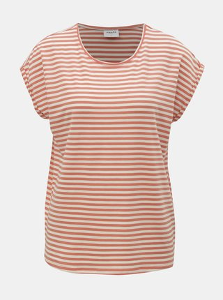 Tricou basic alb-oranj in dungi VERO MODA AWARE Ava