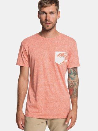 Oranžové žíhané modern fit tričko s kapsou Quiksilver