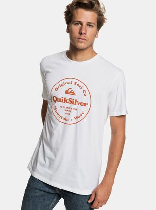 Biele regular fit tričko s potlačou Quiksilver