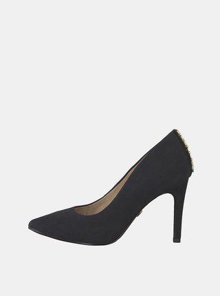 Pantofi negri din piele intoarsa cu detaliu decorativ Tamaris Evangeline