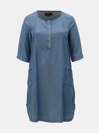 Modré rifľové šaty Zizzi Emily