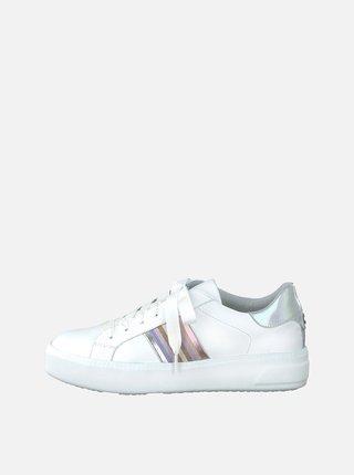Pantofi sport albi cu detalii decorative si platforma Tamaris Milania