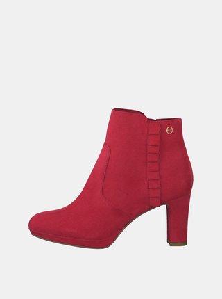 b104cbdac70a Červené členkové topánky v semišovej úprave Tamaris Maura