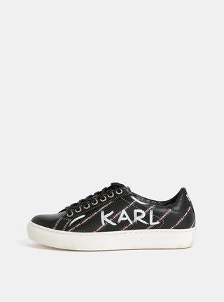 ec68307036ccc Čierne kožené tenisky KARL LAGERFELD Kupsole
