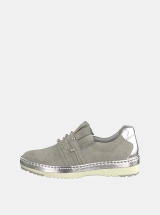 Pantofi slip on gri din piele intoarsa Tamaris Tila
