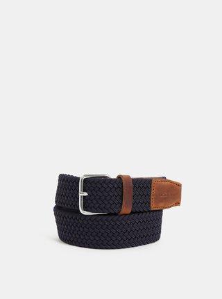 Tmavě modrý pásek s koženými detaily Makia Span