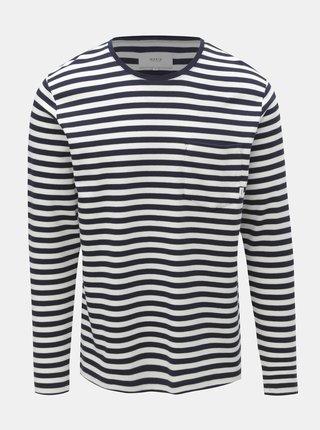 Bielo–modré pánske pruhované tričko s vreckom Makia Verkstad