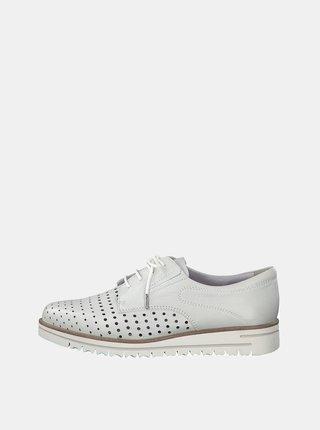 Pantofi albi din piele cu perforatii Tamaris Greta