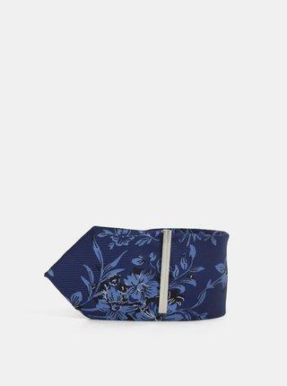 Tmavomodrá kvetovaná slim kravata so sponou Burton Menswear London