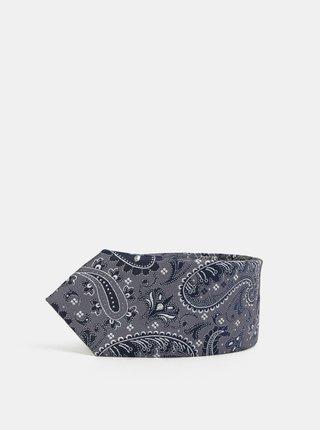 Cravata slim albastru inchis cu model Burton Menswear London