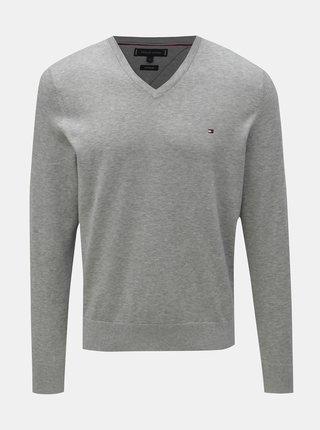 f77cbaa79a Sivý pánsky melírovaný sveter s prímesou hodvábu Tommy Hilfiger