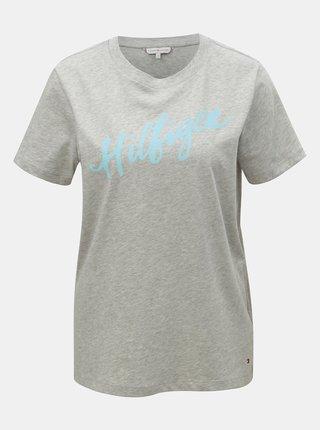 Šedé dámské žíhané tričko s potiskem Tommy Hilfiger Viola