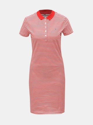 Bielo–červené pruhované slim fit šaty Tommy Hilfiger New Chiara