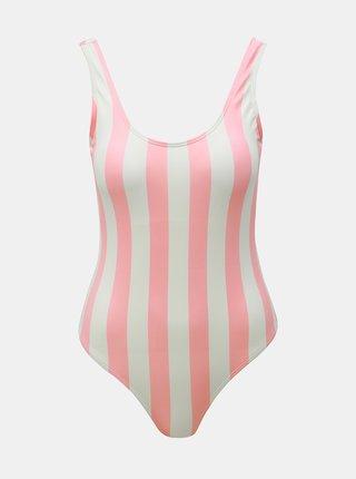 Costum de baie alb-roz in dungi Pieces Bea
