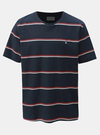 Tmavě modré pruhované tričko Jack & Jones Herringbone