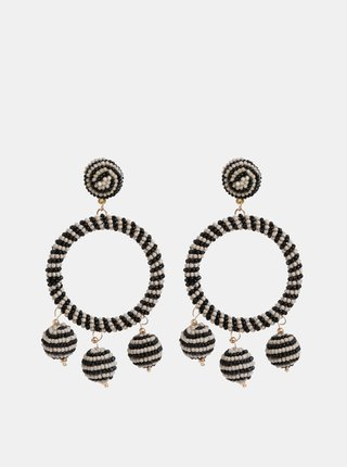 Béžovo–čierne korálkové náušnice Pieces Caroline