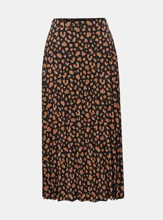 Oranžovo-černá plisovaná midi sukně s leopardím vzorem Dorothy Perkins