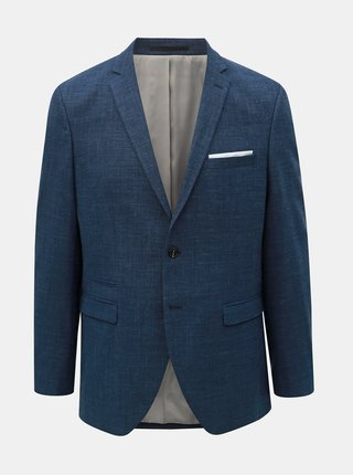 Tmavě modré oblekové slim fit sako s příměsí vlny a lnu Selected Homme Buffalo