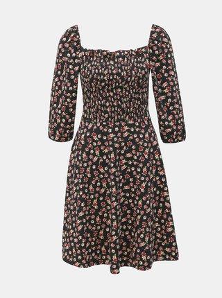Čierne kvetované šaty s 3/4 rukávom Dorothy Perkins
