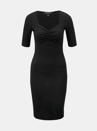 Čierne rebrované puzdrové šaty Dorothy Perkins