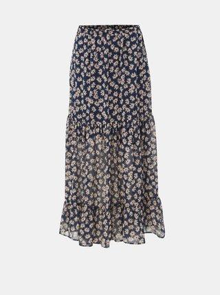 Tmavě modrá květovaná maxi sukně Jacqueline de Yong Gismo