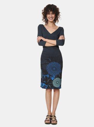 Tmavě modré vzorované pouzdrové šaty Desigual Florencia