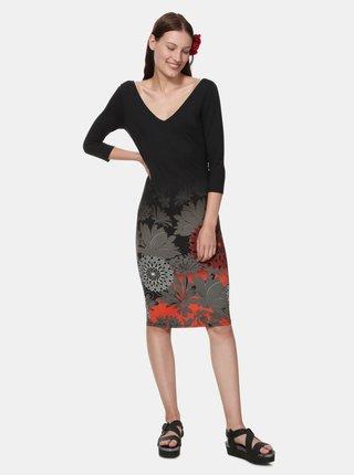 Černé vzorované pouzdrové šaty Desigual Florencia