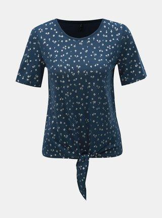 Tricou albastru inchis floral cu nod ONLY Isabella
